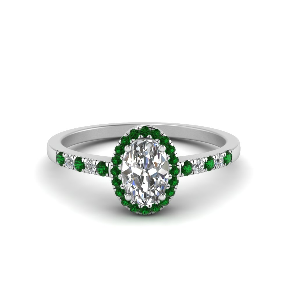 oval halo diamond delicate engagement ring with emerald in FDENR495OVRGEMGR NL WG
