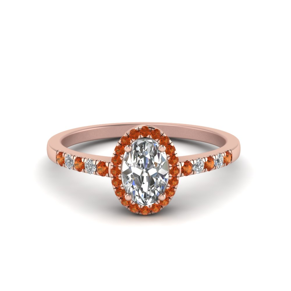 oval halo diamond delicate engagement ring with orange sapphire in FDENR495OVRGSAOR NL RG