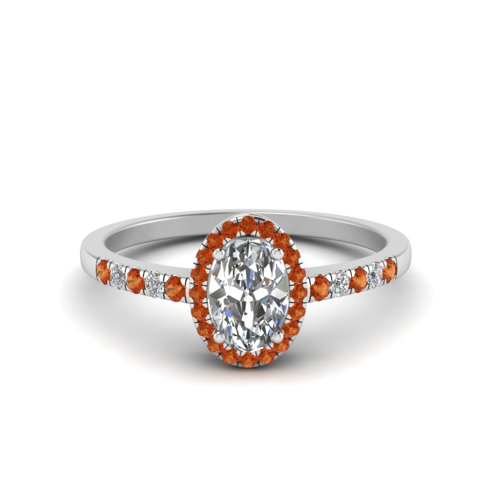 oval halo diamond delicate engagement ring with orange sapphire in 14K white gold FDENR495OVRGSAOR NL WG
