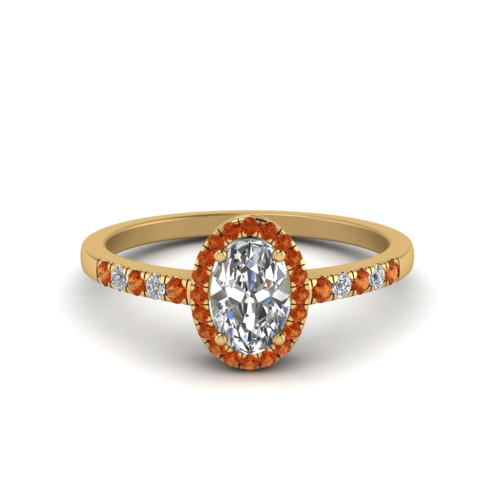 oval halo diamond delicate engagement ring with orange sapphire in FDENR495OVRGSAOR NL YG