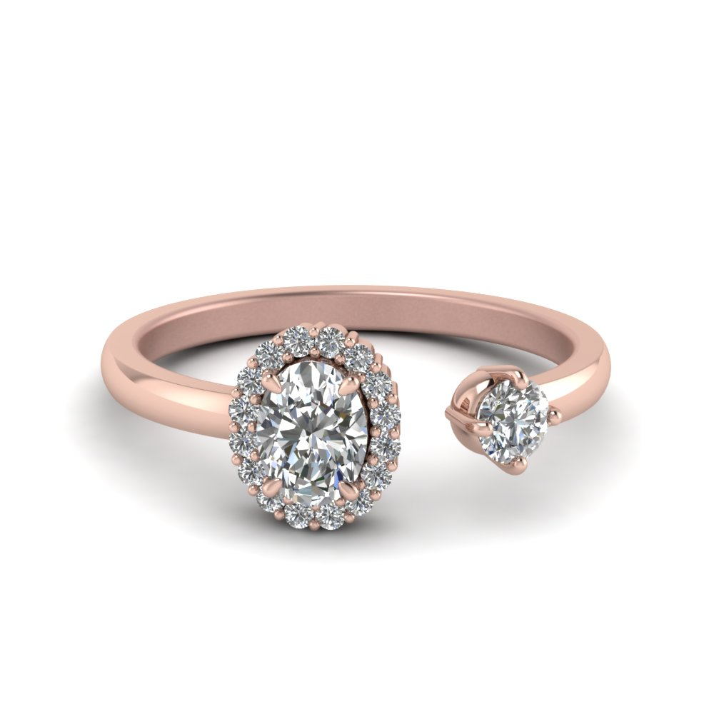 oval halo diamond open engagement ring in 14K rose gold FD71903OVR NL RG