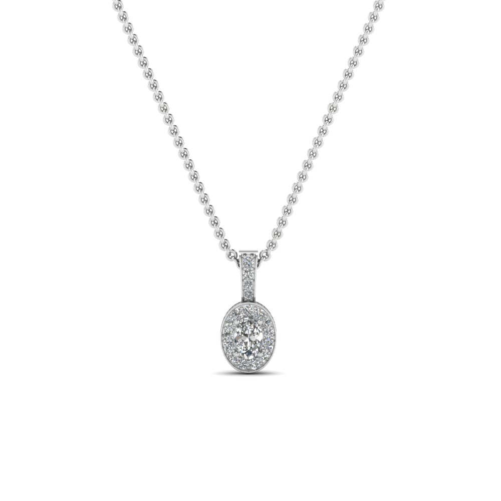oval halo diamond pendant necklace in FDPD1055ANGLE1 NL WG