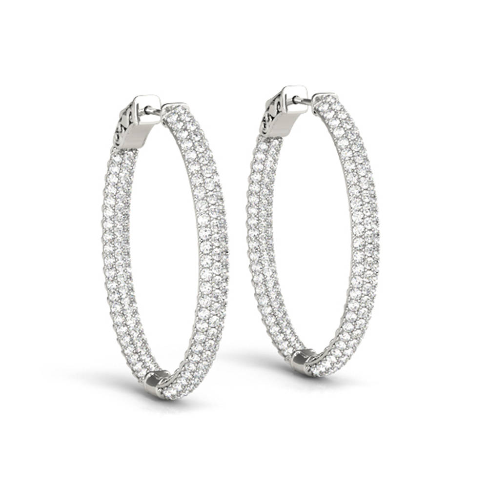 Oval Inside Out Diamond Hoop Earring In Fdoear41023angle1 Nl Wg