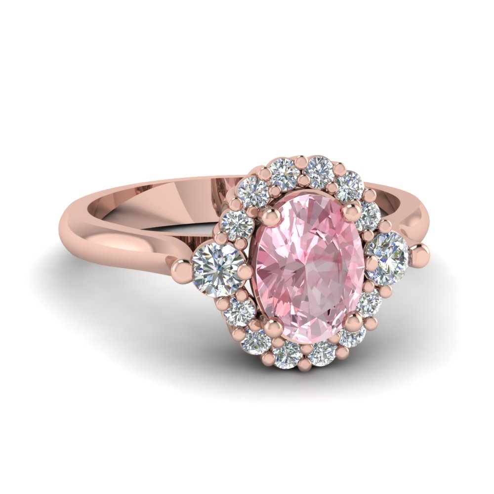 Cathedral oval morganite halo engagement ring in 14k rose for Colored diamond wedding ring