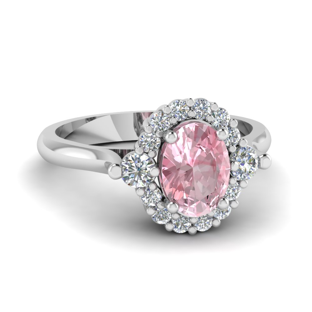 Oval Morganite Halo Diamond Ring