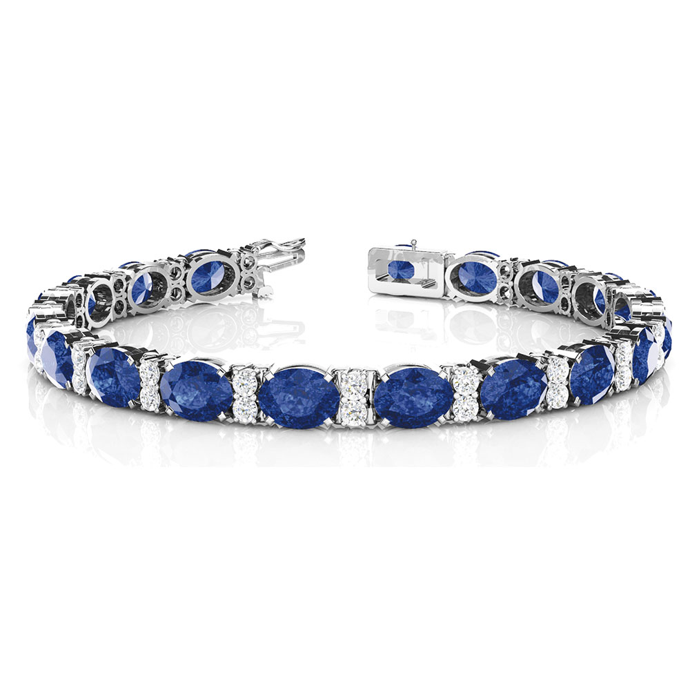 oval sapphire with diamonds bracelet in FDOBR70033OVANGLE2 NL WG
