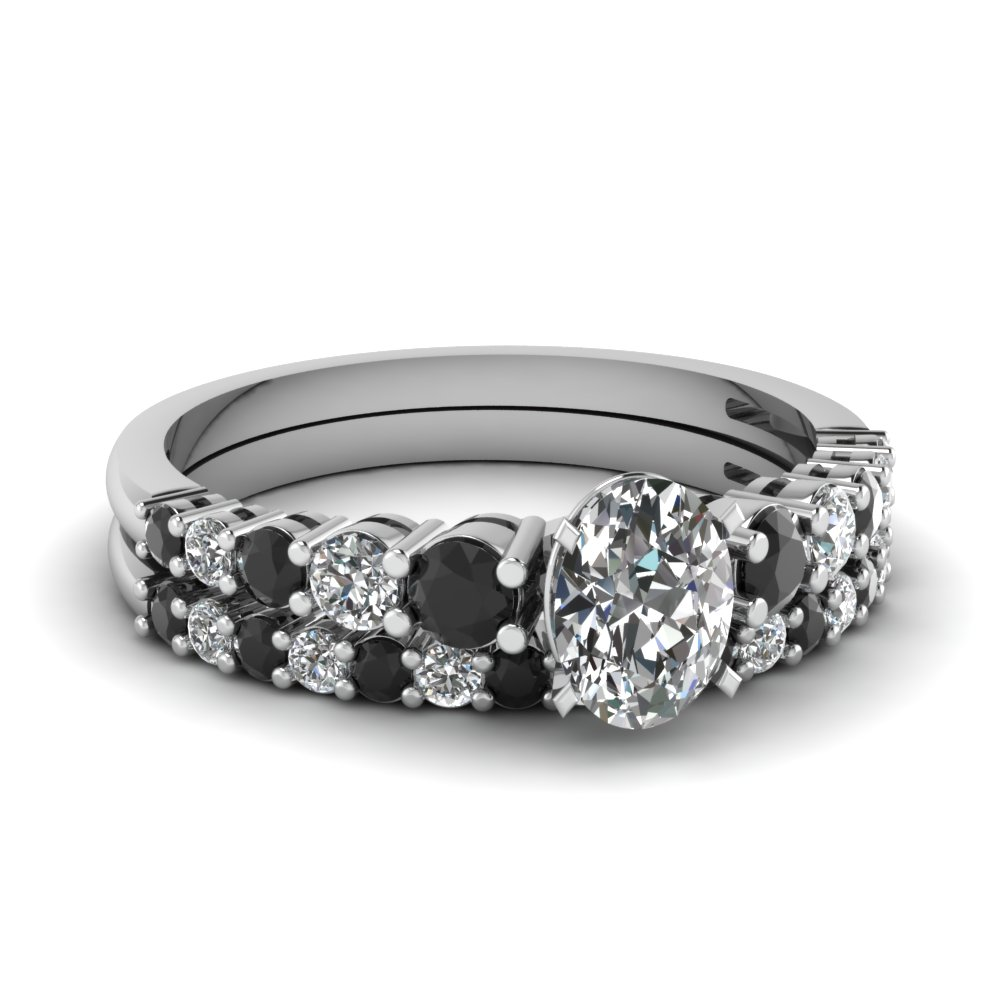 graduated oval wedding ring set with black diamond in FDENS3056OVGBLACK NL WG