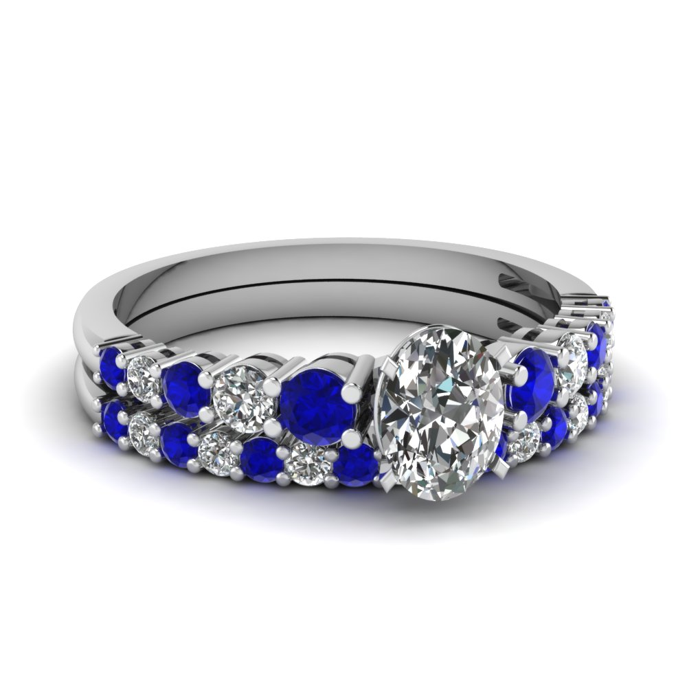 graduated oval diamond wedding ring set with sapphire in FDENS3056OVGSABL NL WG