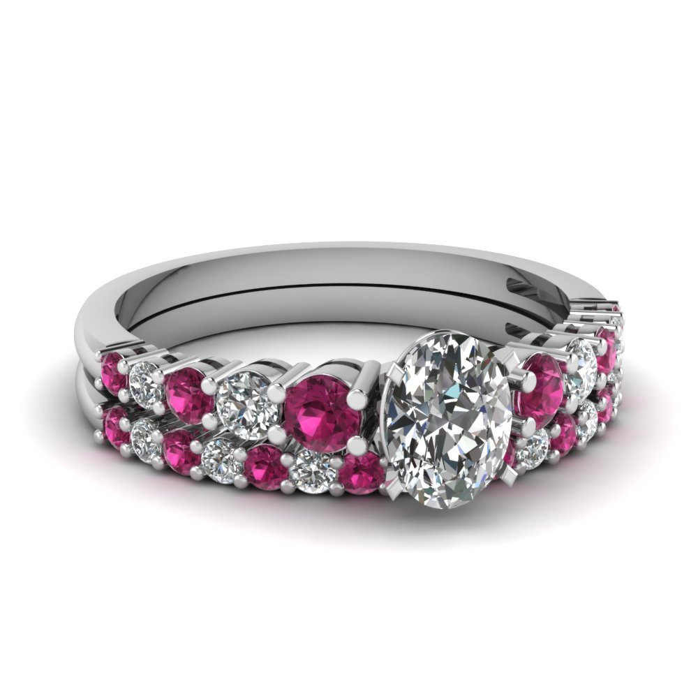 graduated oval diamond wedding ring set with pink sapphire in FDENS3056OVGSADRPI NL WG