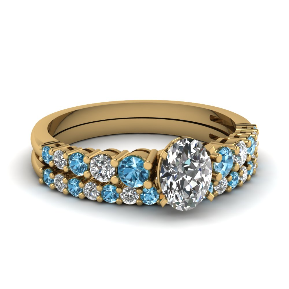 18k yellow gold ice blue topaz wedding sets engagement for Blue topaz wedding ring sets