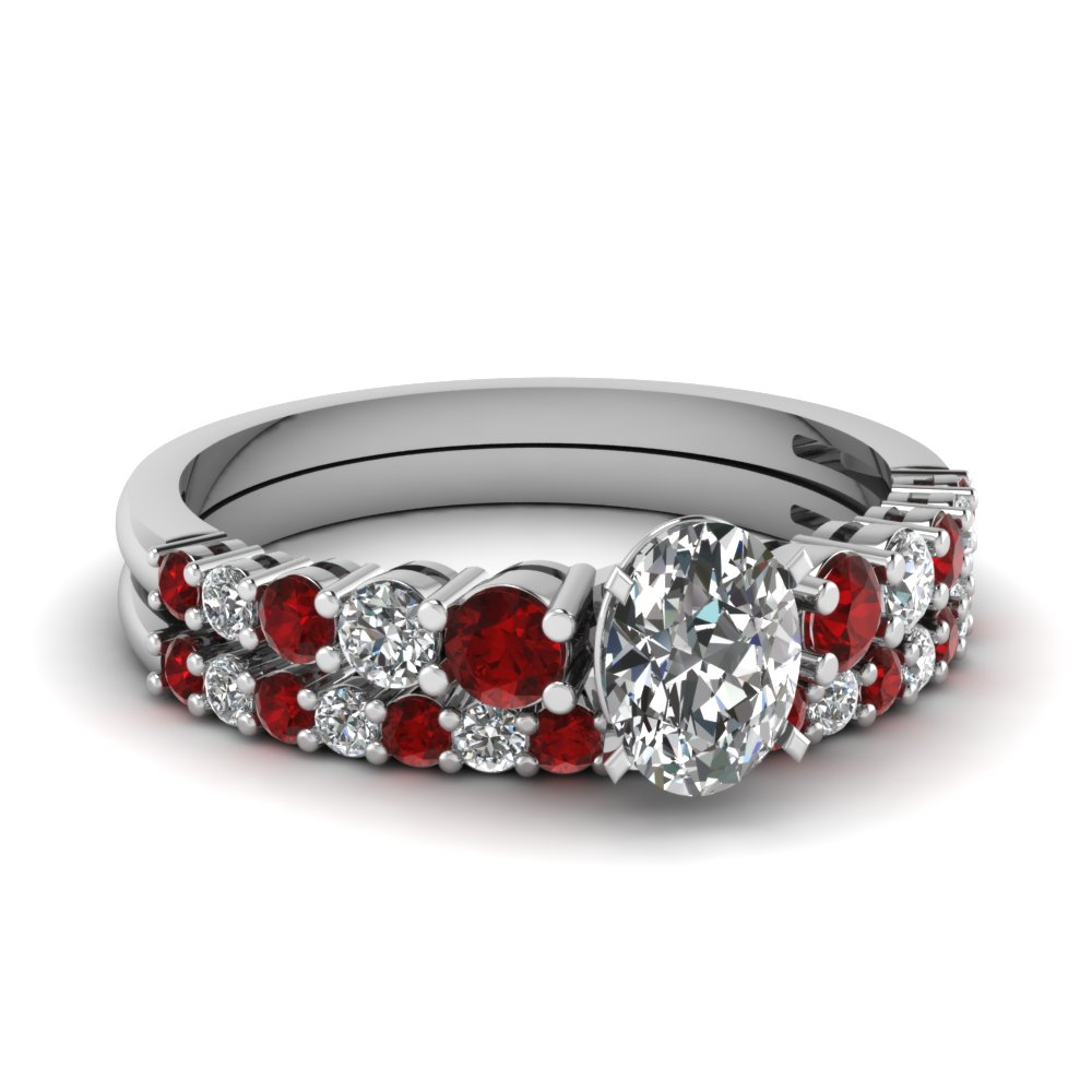 Womens Ruby Wedding Ring Set