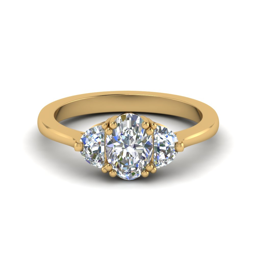 half moon 3 oval diamond engagement ring in 14K yellow gold FDENR7997OVR NL YG