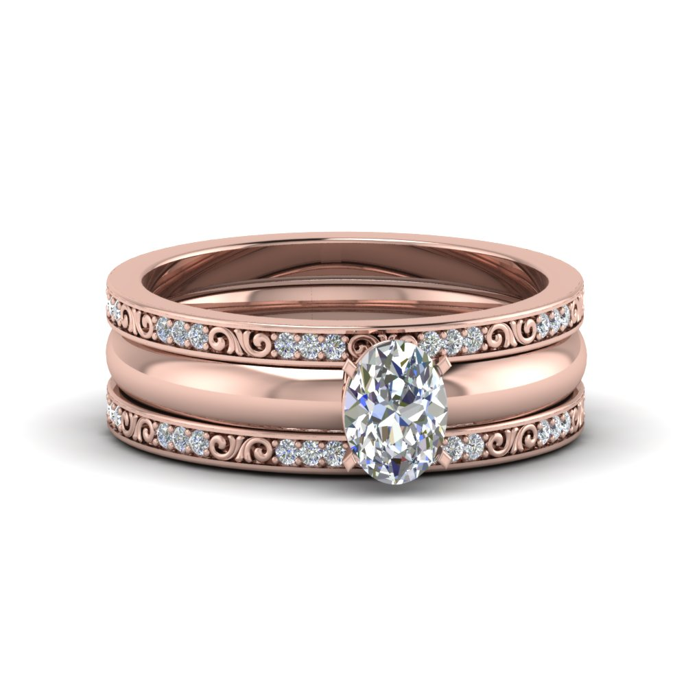 Oval Shaped Trio Wedding Ring Sets