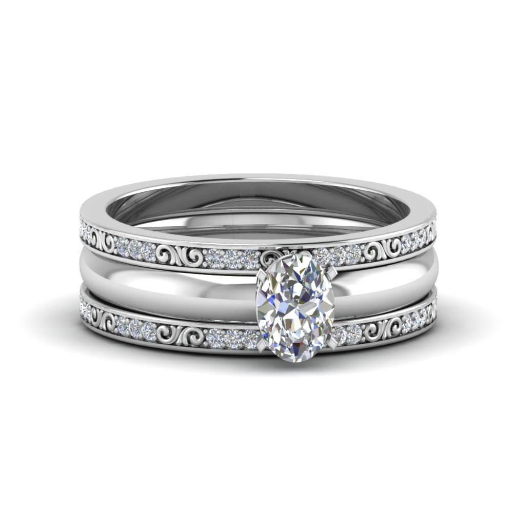 Oval Shaped 3 Piece Diamond Filigree Bridal Set In 18K White Gold