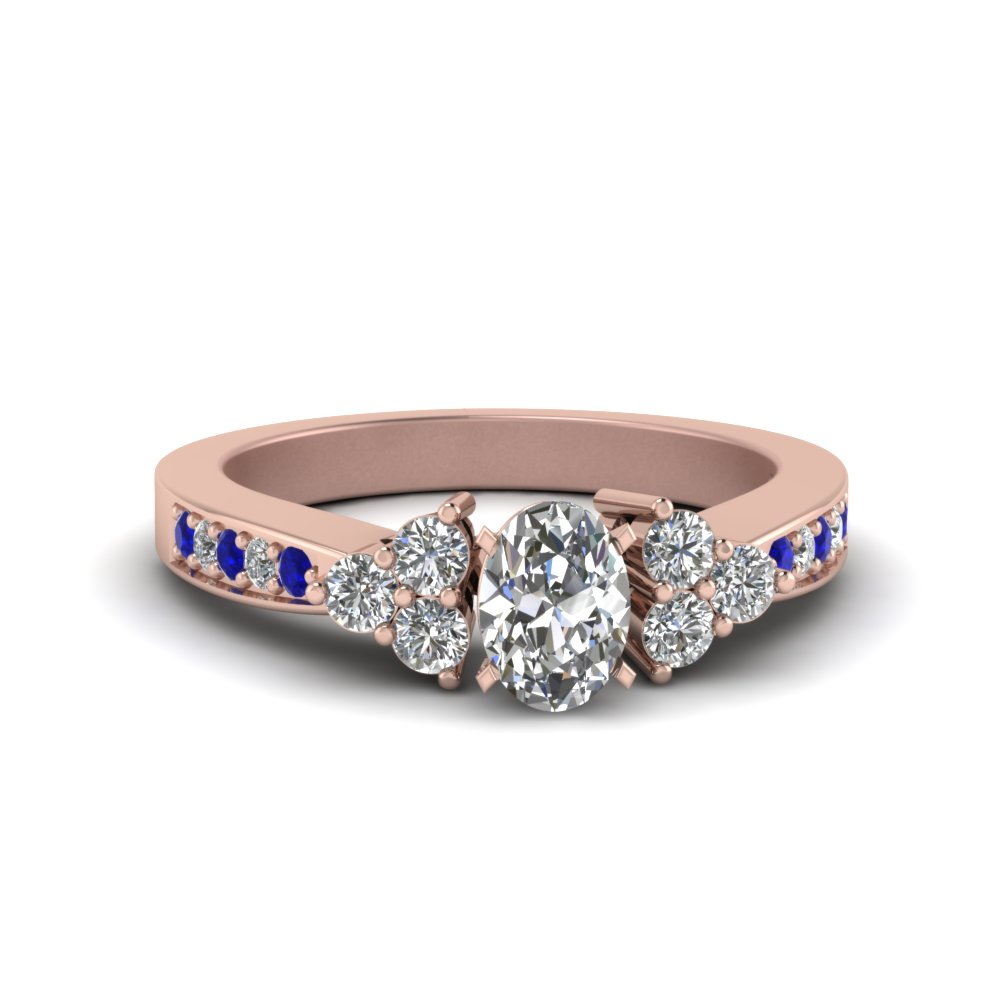 Rose Gold Sapphire Petite Wedding Rings