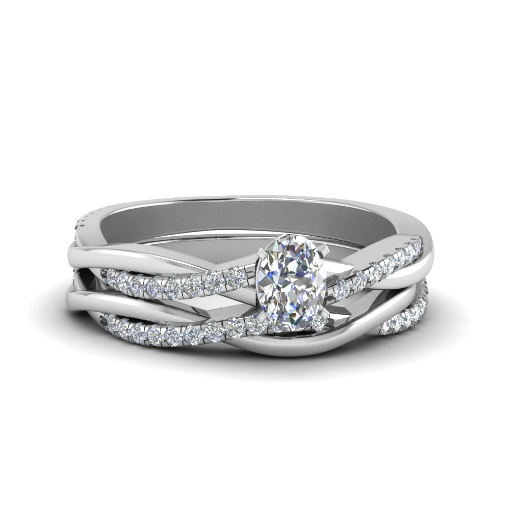 oval shaped Infinity twist diamond matching bridal set in FD8253OV NL WG
