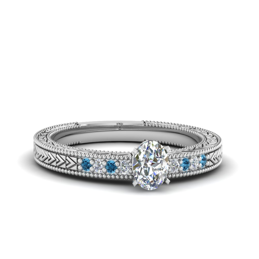 oval shaped antique design pave diamond engagement ring with ice blue topaz in FDENS3033OVRGICBLTO NL WG