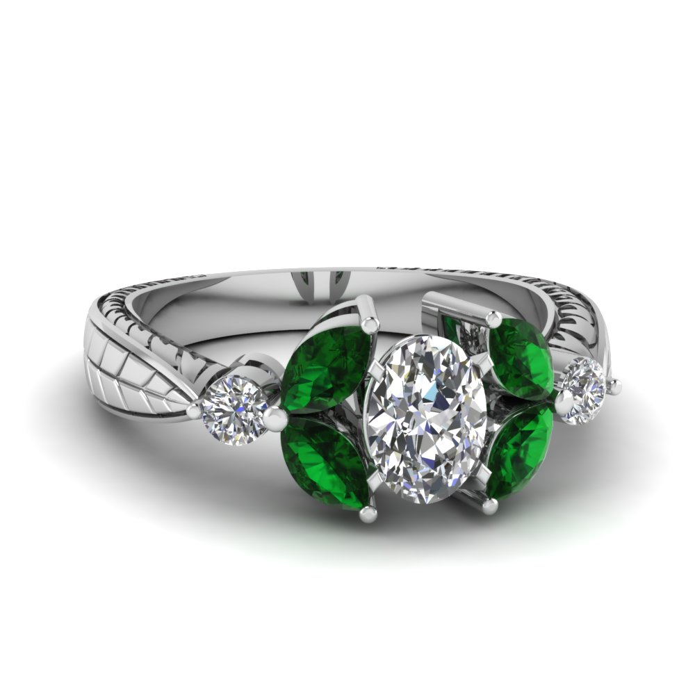 Vintage Tapered Emerald Ring