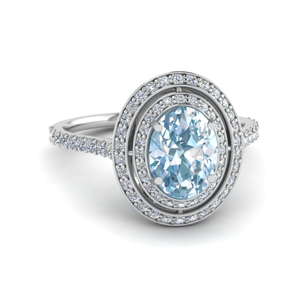 Double Halo Aquamarine Oval Ring