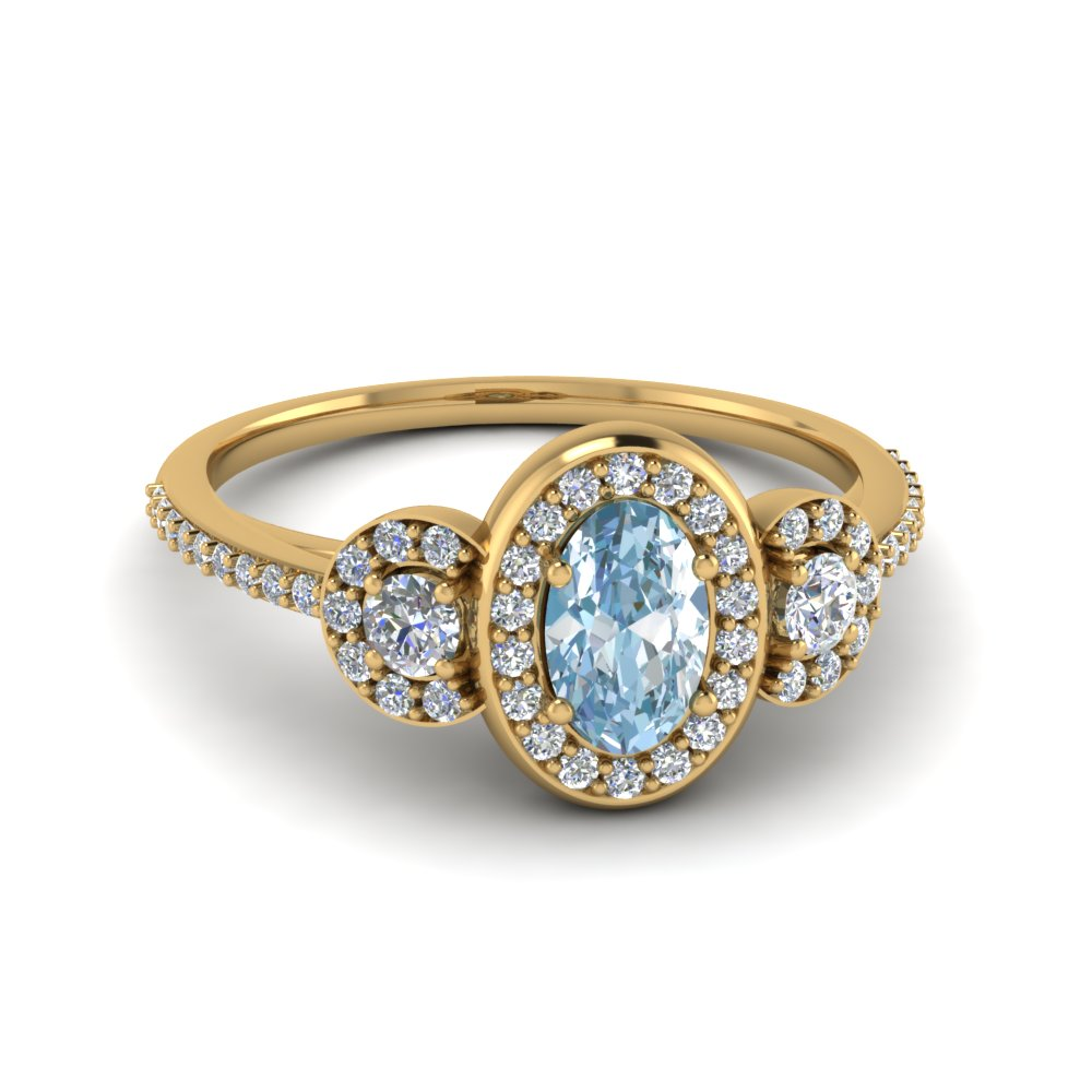 Pave Halo Aquamarine Ring