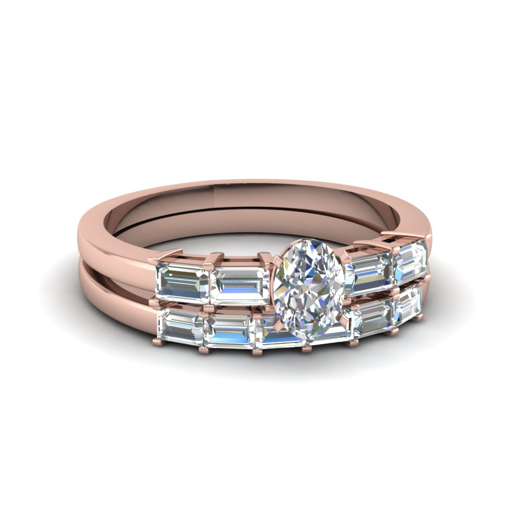 Baguette Wedding Set With Oval Diamond For Her