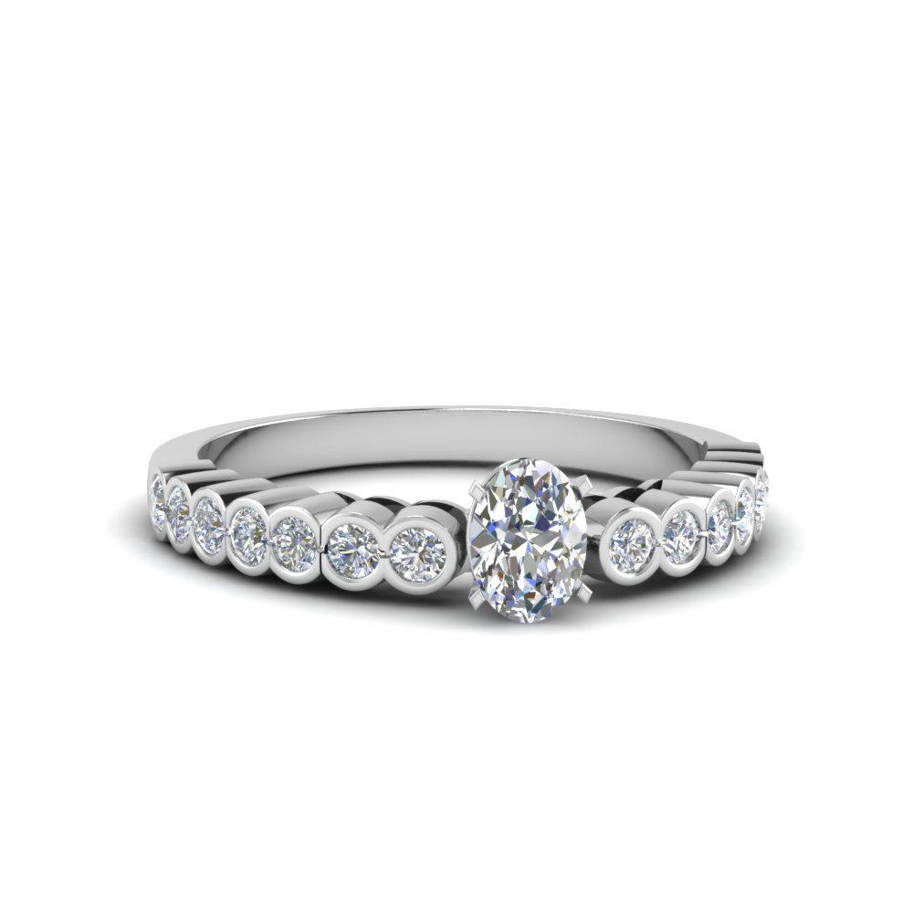 oval shaped bezel side stone diamond engagement ring in FDENS 3015OVR NL WG