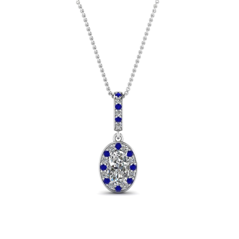 oval shaped blue sapphire fancy pendant in 14K white gold FDPD85656OVGSABL NL WG