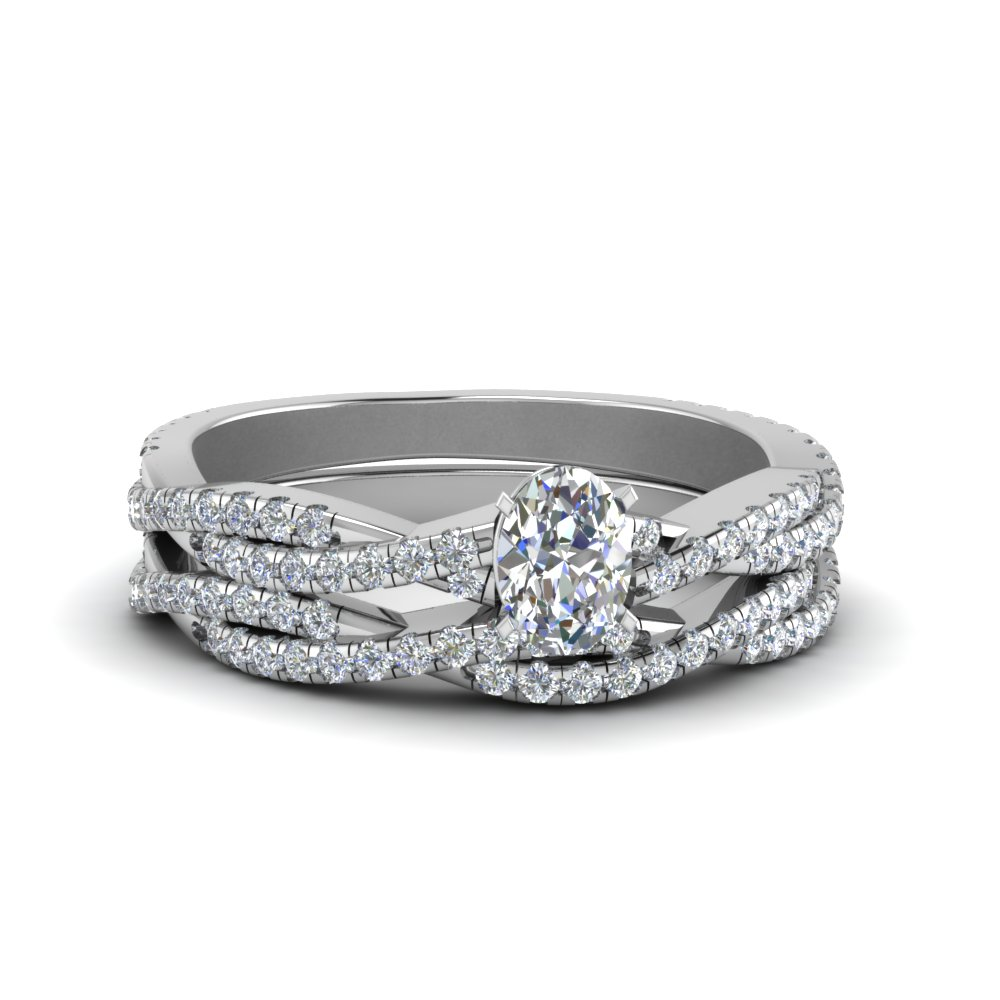 Braided Diamond Wedding Set