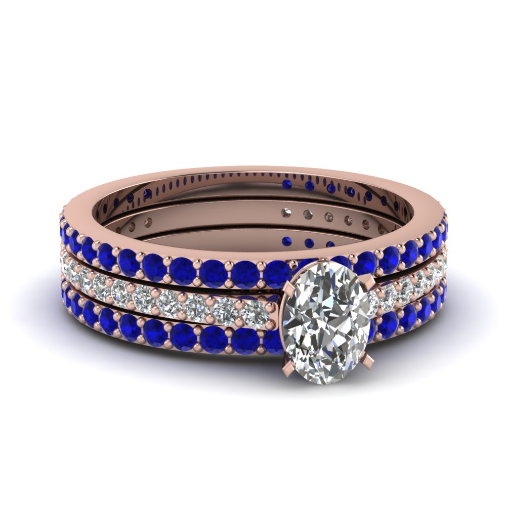 Oval Shaped Sapphire And Diamond Trio Wedding Ring Set
