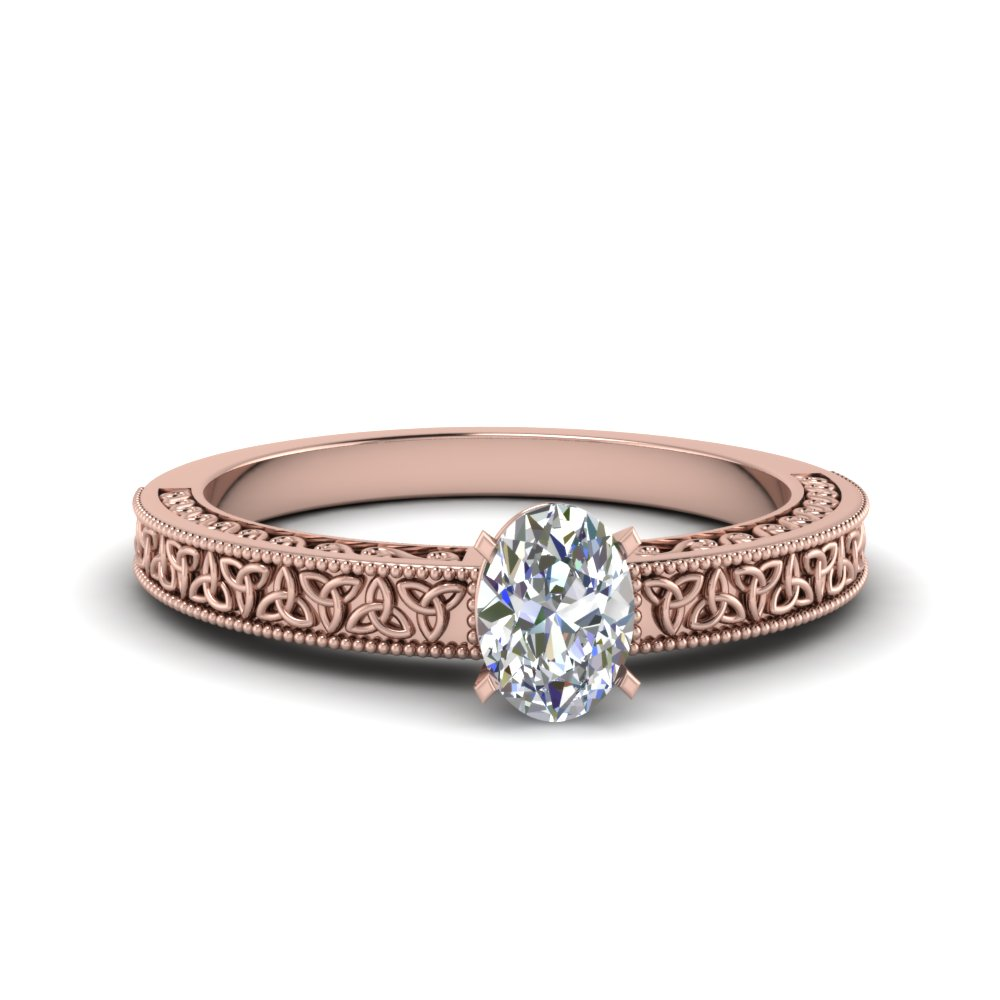 celtic engraved oval solitaire engagement ring in FD8544OVR NL RG