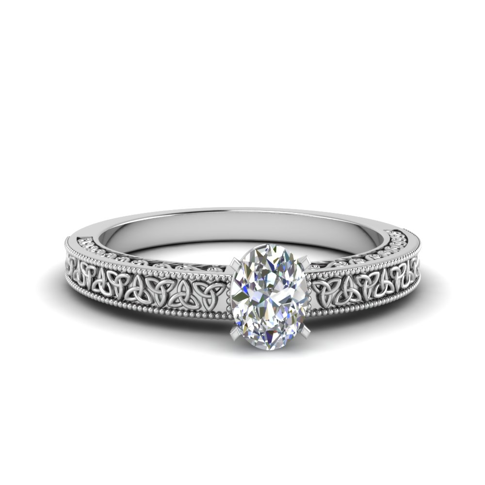 celtic engraved oval solitaire engagement ring in FD8544OVR NL WG