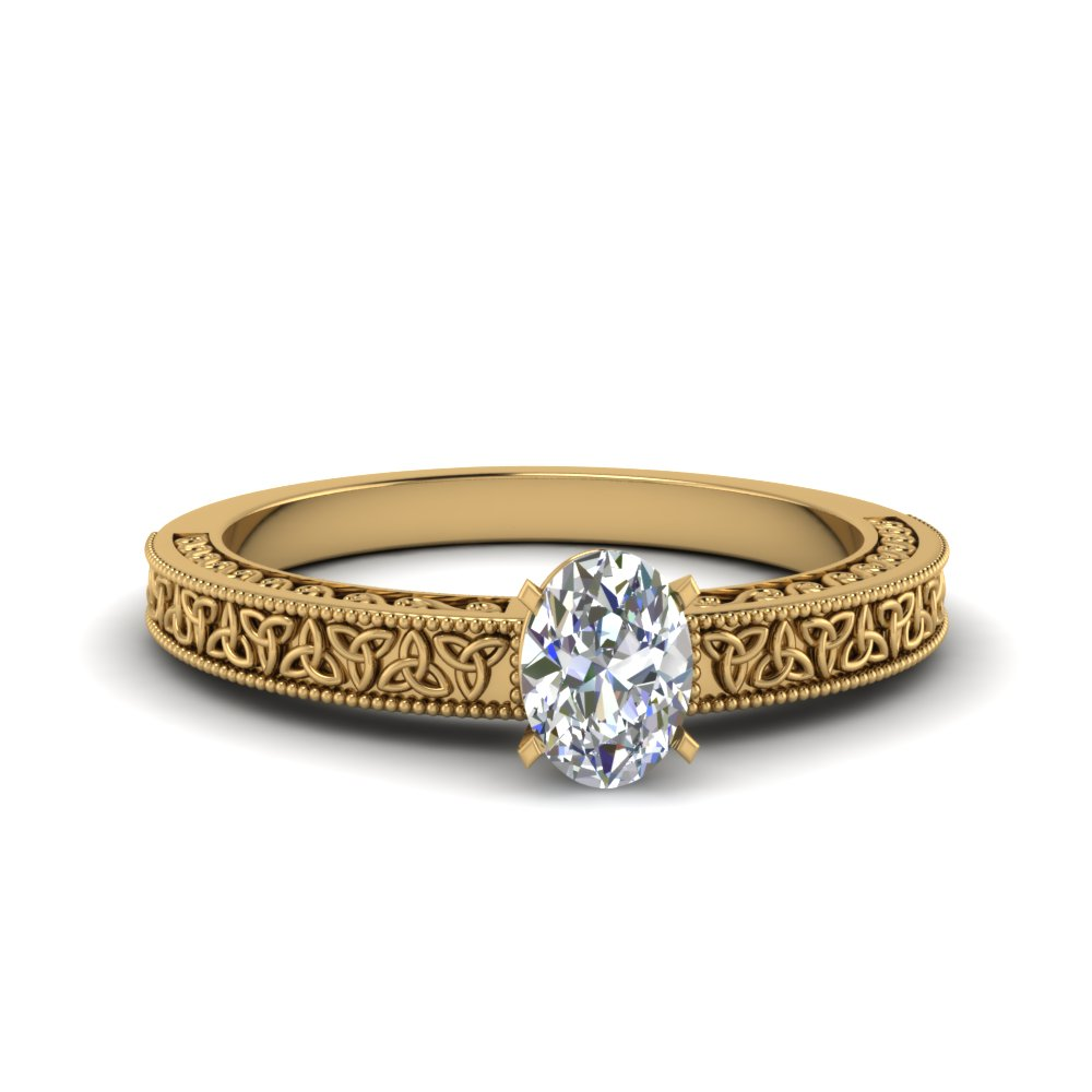 celtic engraved oval solitaire engagement ring in FD8544OVR NL YG