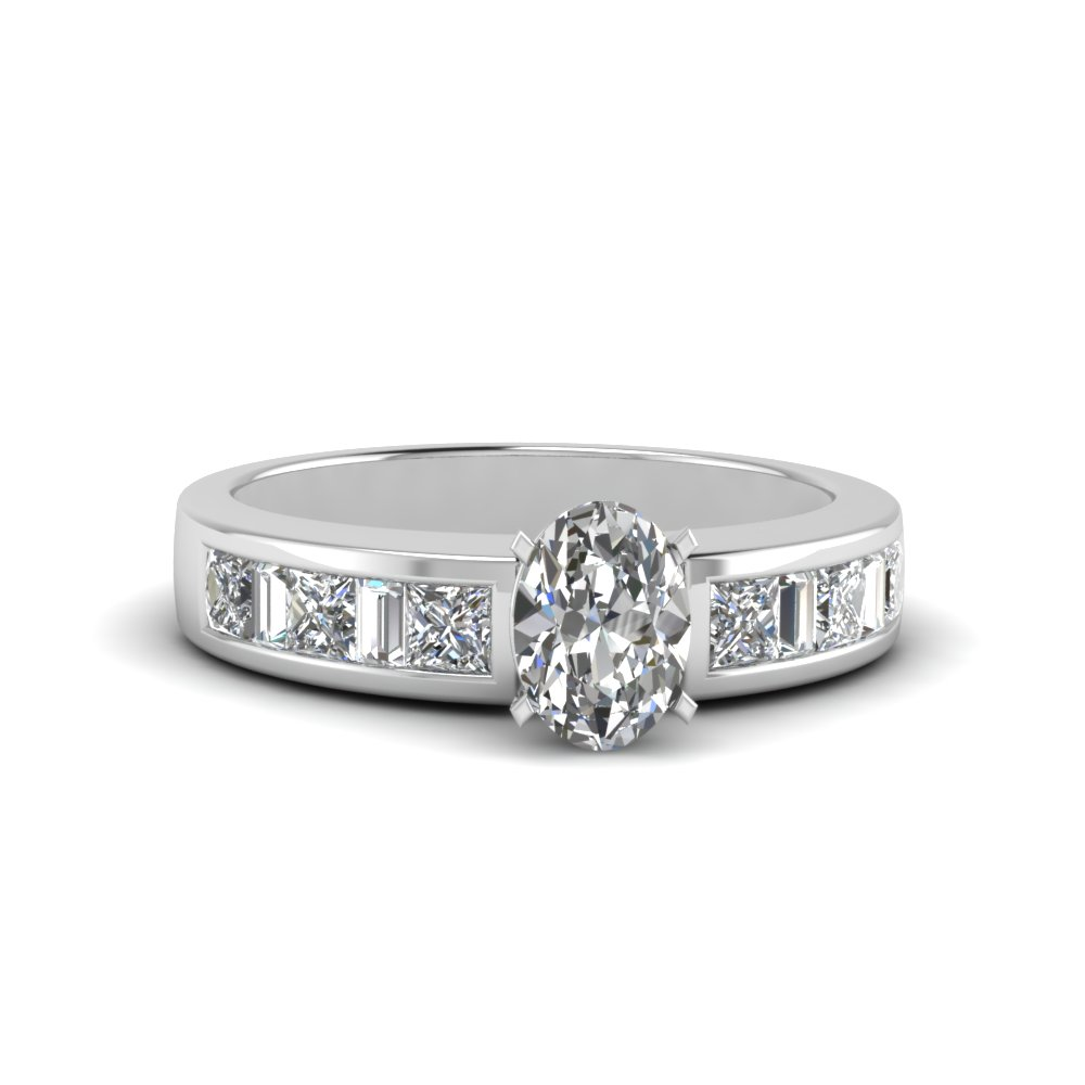 oval shaped channel baguette and princess accent diamond engagement ring in FDENS350OVR NL WG