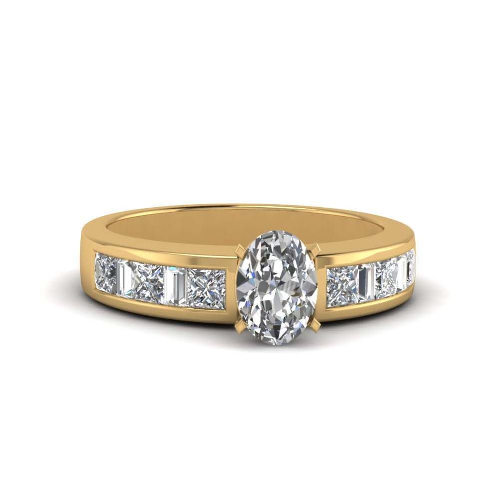 oval shaped channel baguette and princess accent diamond engagement ring in FDENS350OVR NL YG