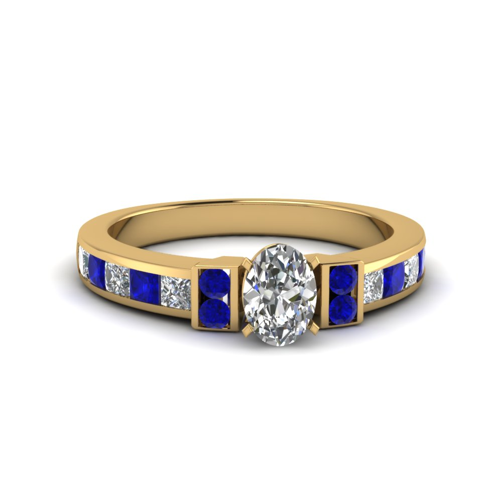 oval shaped channel bar set diamond engagement ring for women with blue sapphire in FDENR989OVRGSABL NL YG