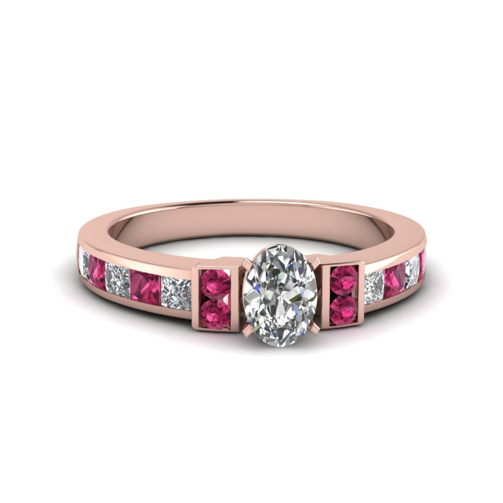 oval shaped channel bar set diamond engagement ring for women with pink sapphire in FDENR989OVRGSADRPI NL RG