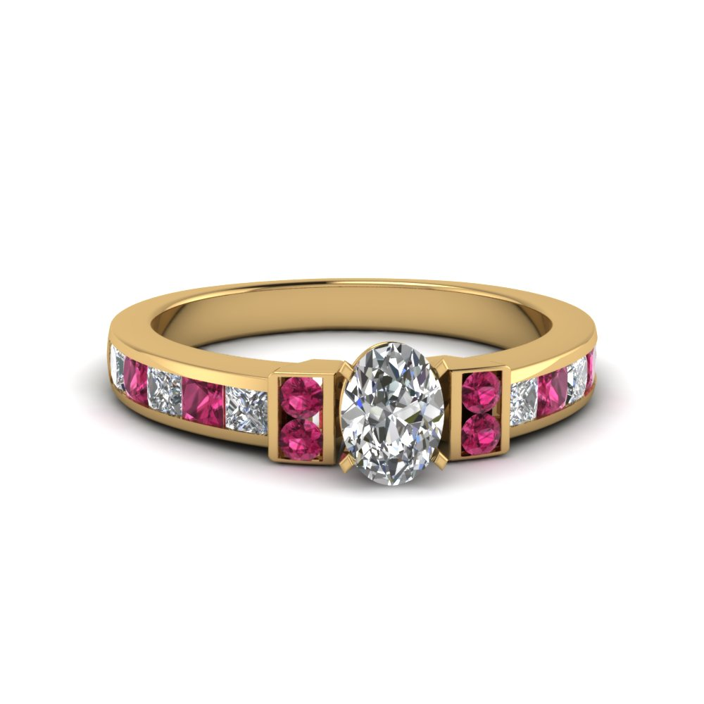 oval shaped channel bar set diamond engagement ring for women with pink sapphire in FDENR989OVRGSADRPI NL YG
