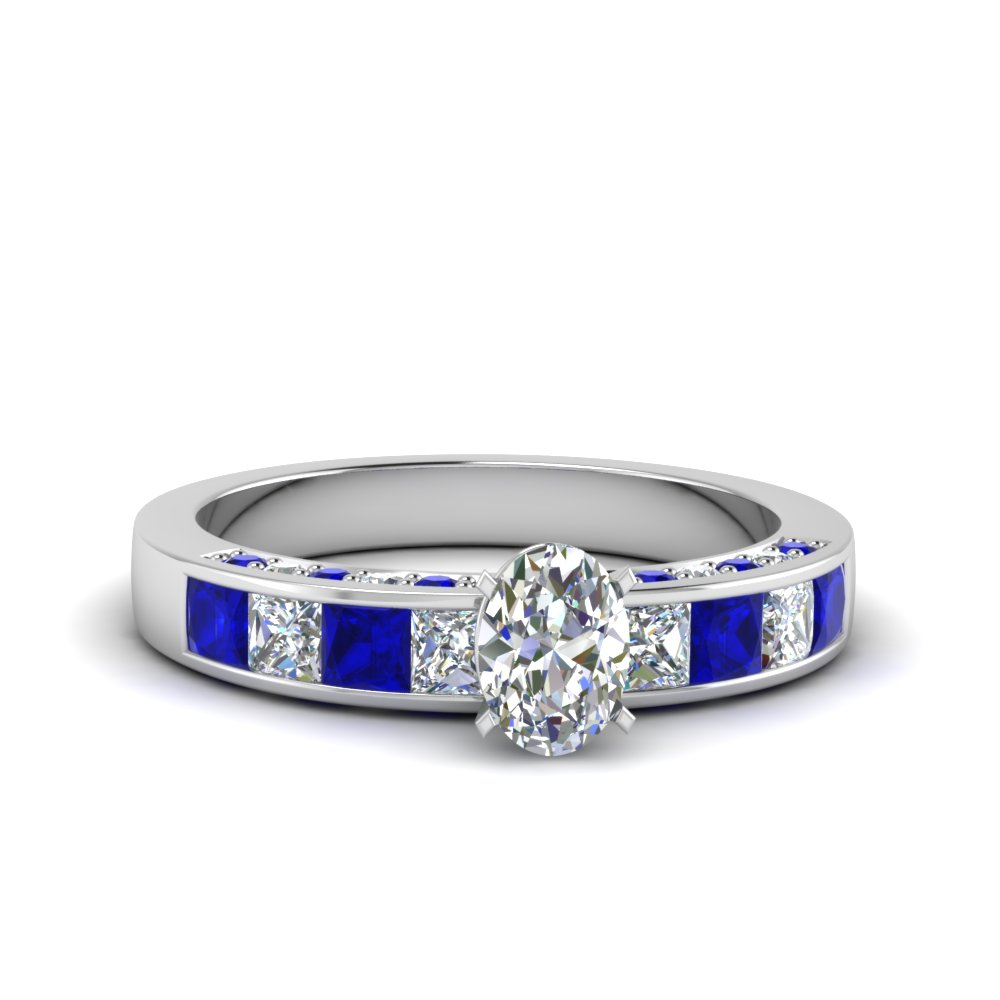 oval shaped channel diamond engagement ring with blue sapphire in 14K white gold FDENS198OVRGSABL NL WG