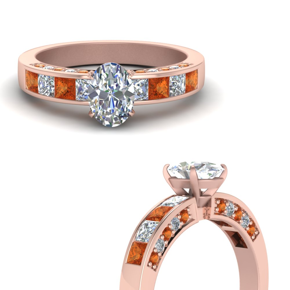 oval shaped channel diamond engagement ring with orange sapphire in FDENS198OVRGSAORANGLE3 NL RG.jpg