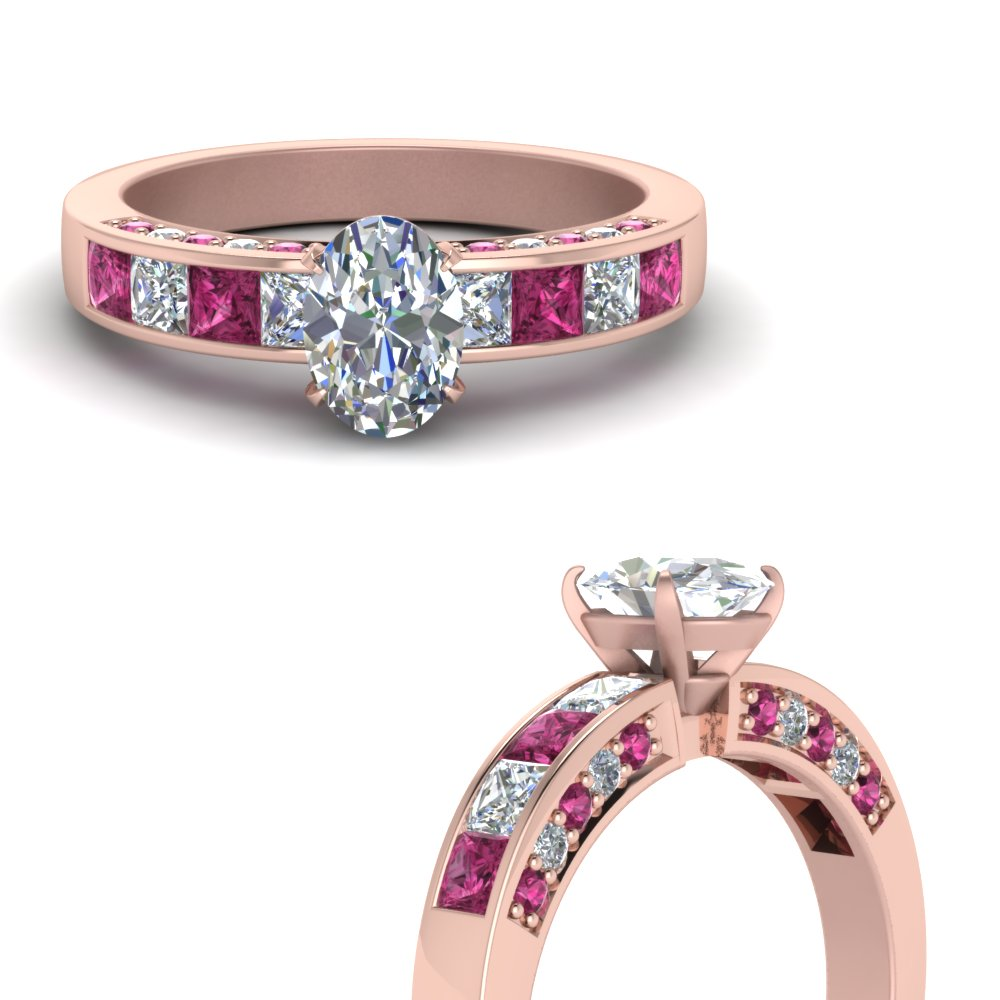 oval shaped channel diamond engagement ring with pink sapphire in FDENS198OVRGSADRPIANGLE3 NL RG.jpg