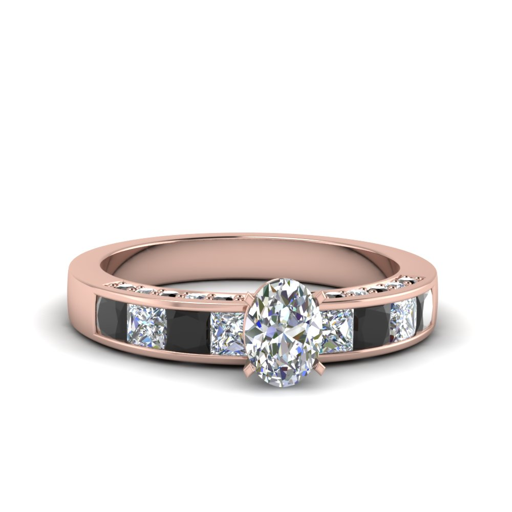 oval shaped channel engagement ring with black diamond in 14K rose gold FDENS198OVRGBLACK NL RG