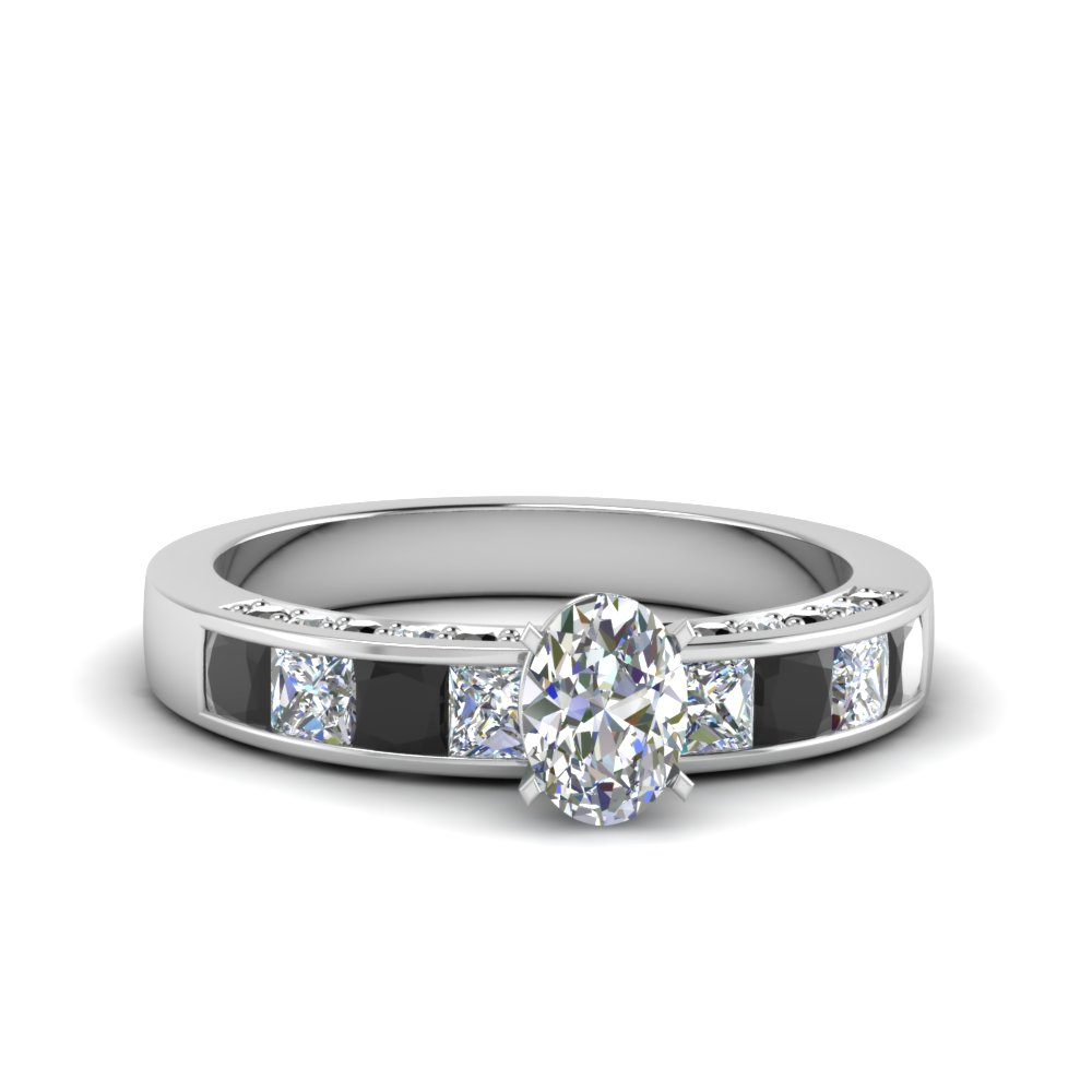 Side Stone Engagement Rings With Black Diamond