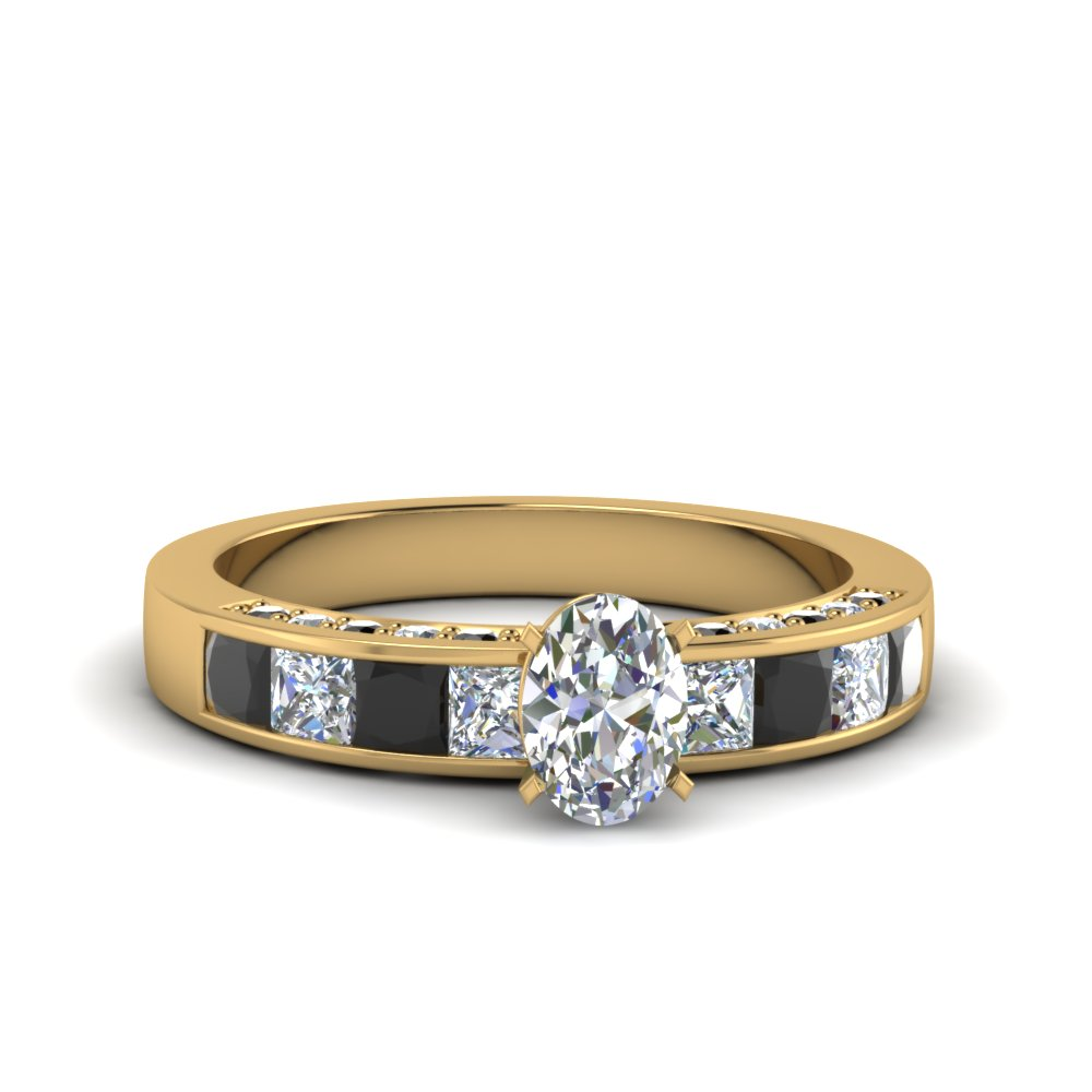 oval shaped channel engagement ring with black diamond in 14K yellow gold FDENS198OVRGBLACK NL YG