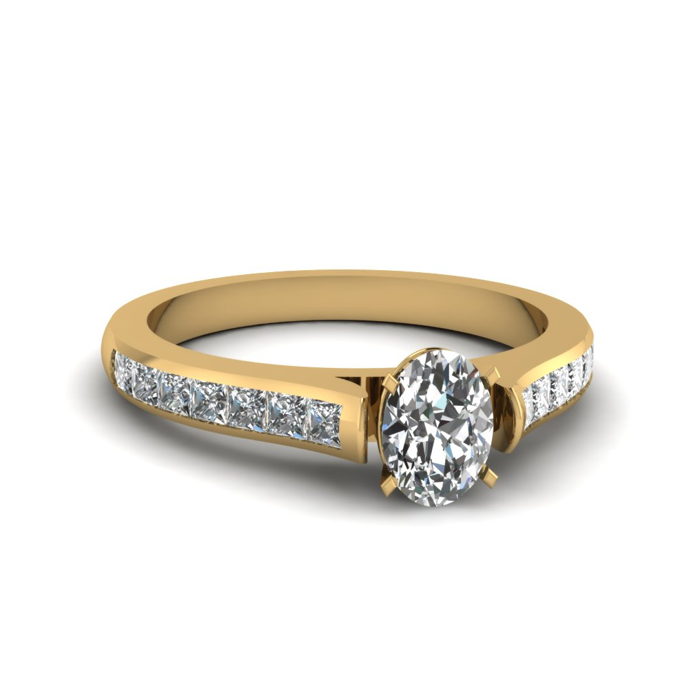 Yellow Gold Oval Shaped Channel Diamond Ring