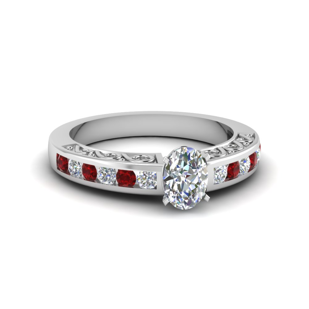 oval shaped channel set diamond vintage engagement ring with ruby in FDENS817OVRGRUDR NL WG