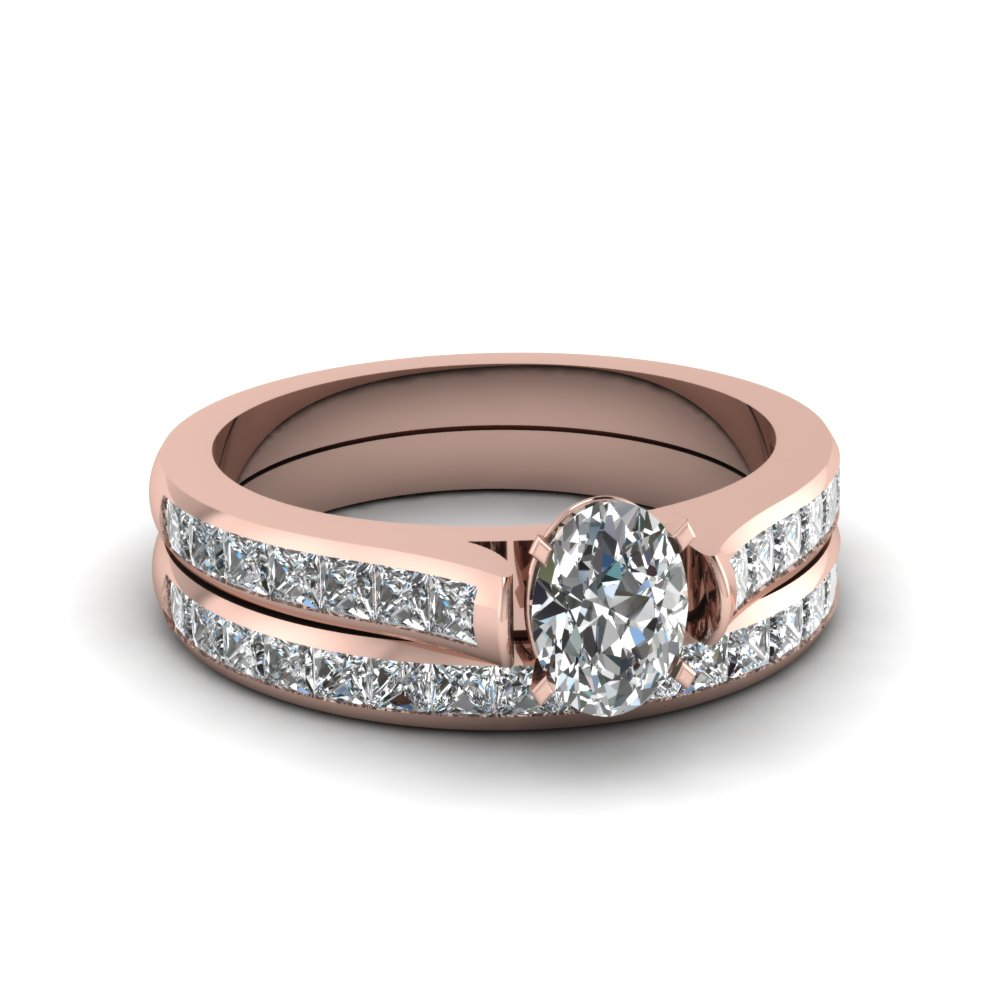 oval shaped channel set diamond wedding ring sets in 14K rose gold FDENS877OV NL RG 30