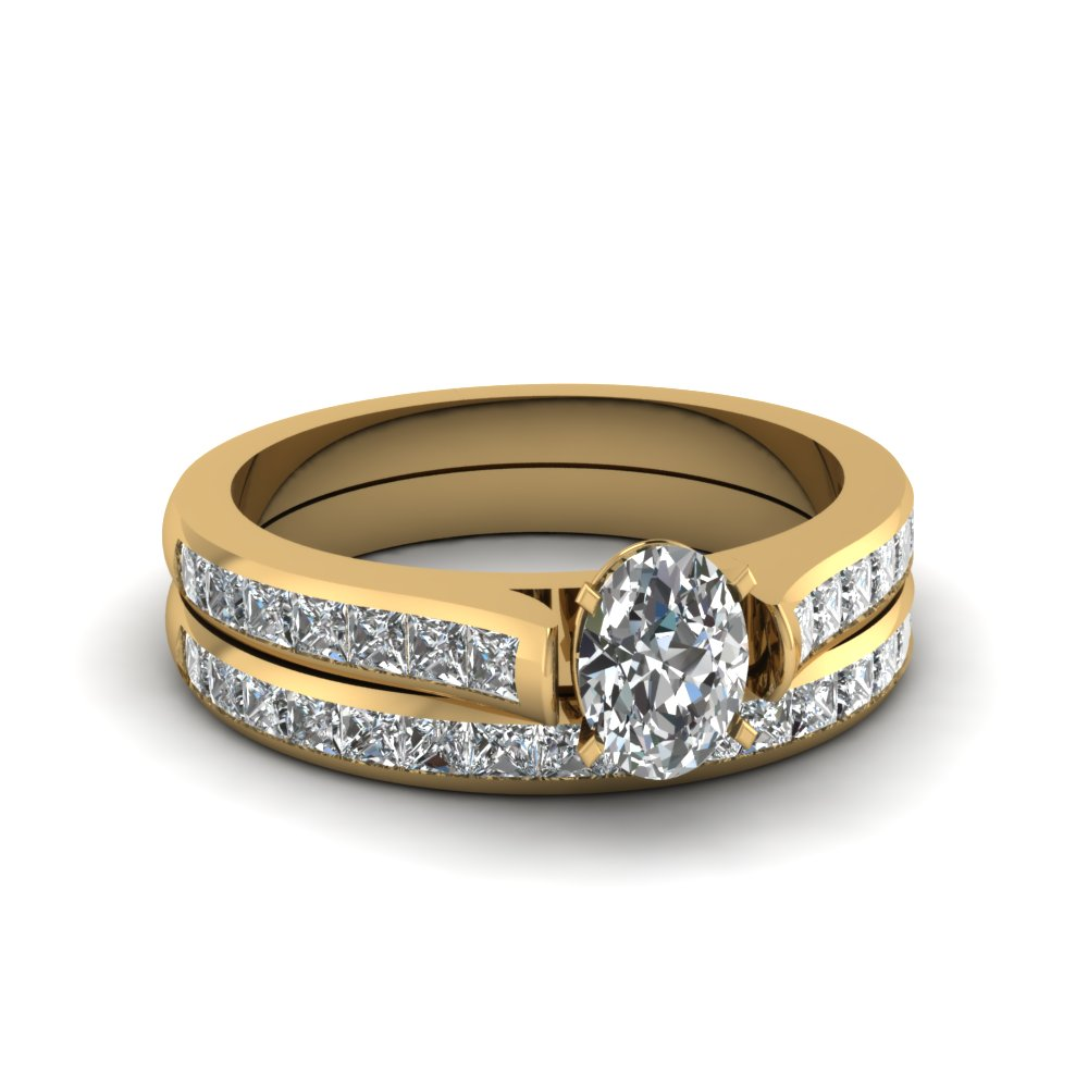 oval shaped channel set diamond wedding ring sets in 18K yellow gold FDENS877OV NL YG 30