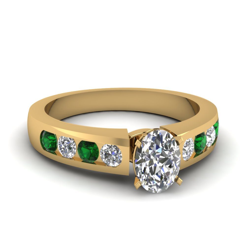 oval shaped diamond channel set engagement ring with emerald in FDENR1274OVRGEMGR NL YG