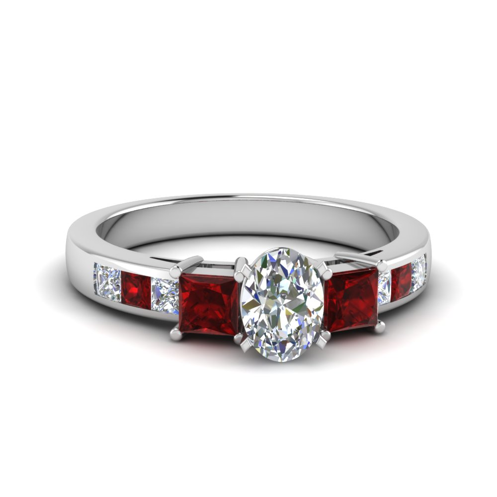 oval shaped channel three stone diamond engagement ring with ruby in 18K white gold FDENS205OVRGRUDR NL WG