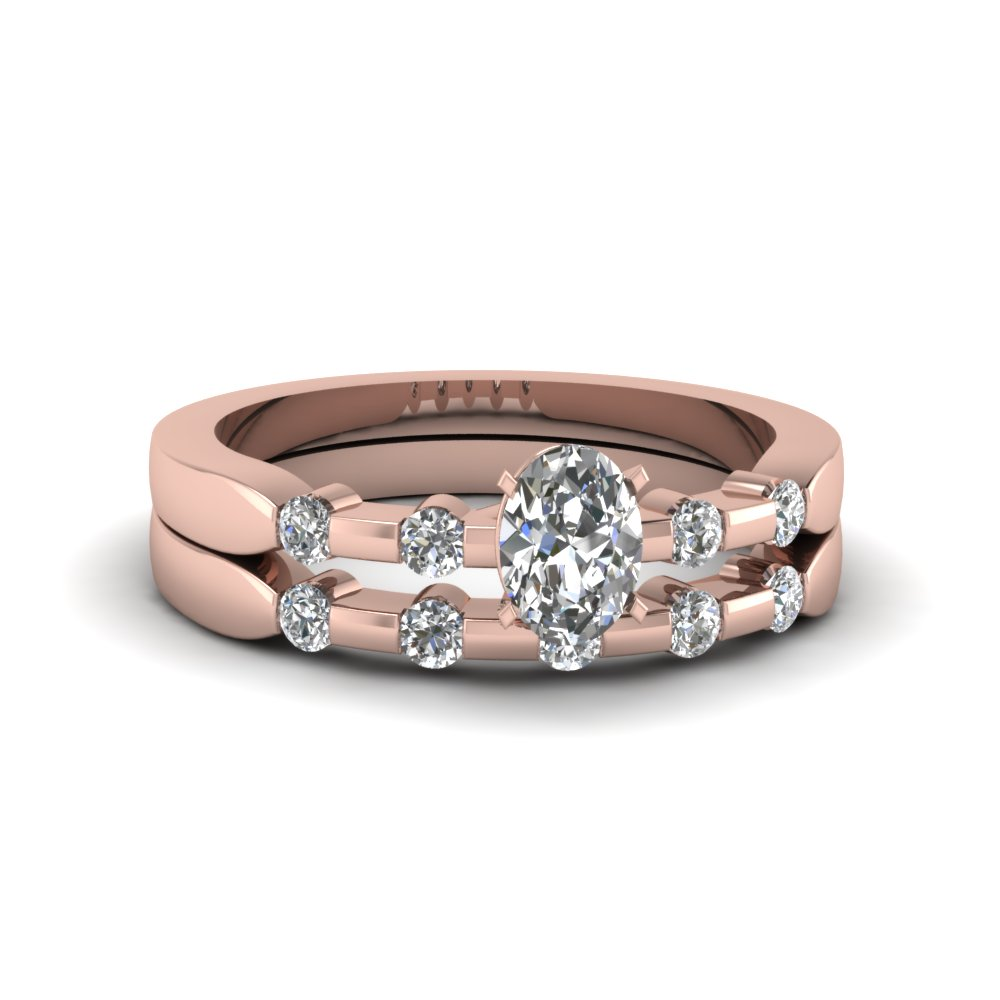 oval shaped delicate diamond wedding ring set in fdens3063ov nl rg - Rose Gold Wedding Ring Set